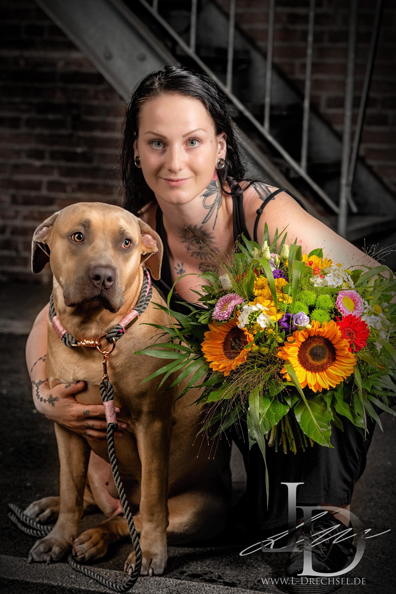 Girl Dog Flower